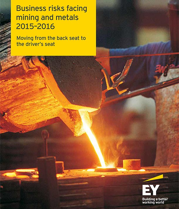 the Cover of the 2015-2016 EY business risks in mining and metals report