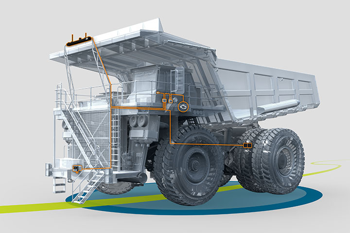 An autonomous rigid haul truck equipped with ASI's OEM agnostic vehicle automation kit.
