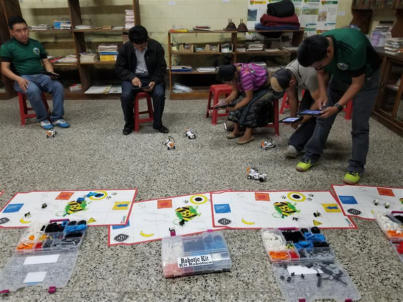 Guatemalan school teachers using robots